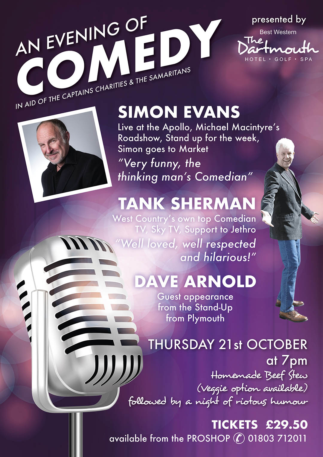 Comedy Night with Simon Evans, Tank Sherman and Dave Arnold Thursday 21st October